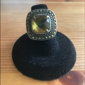 Antique Synthetic Citrine & Marcasite Fashion Ring